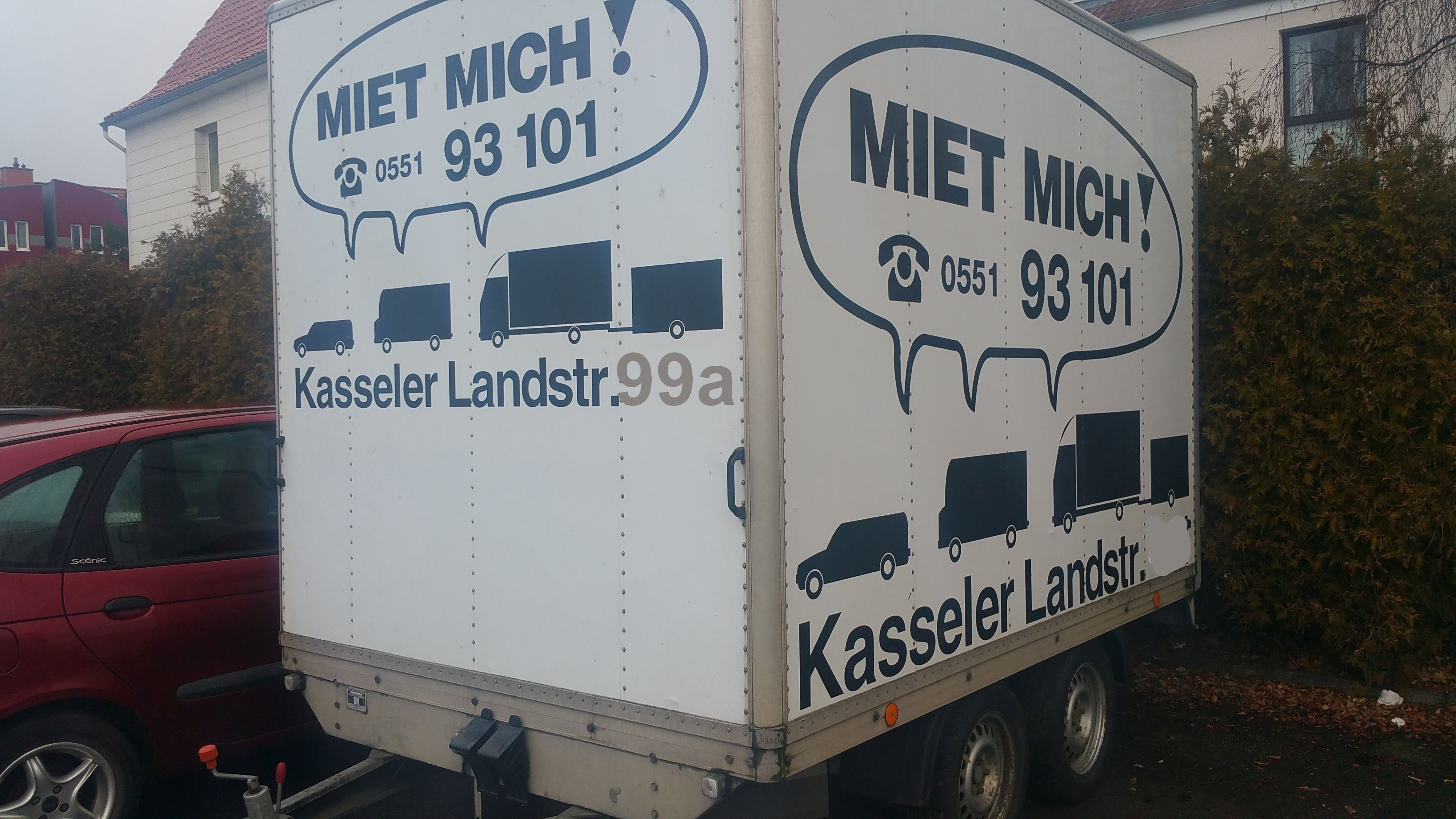 Tandem-Anhänger Koffer für PKW/Transporter-Kugelkopfkupplung.  Achtung Zuglast beachten    Tarife nur gültig bei Onlinebuchung